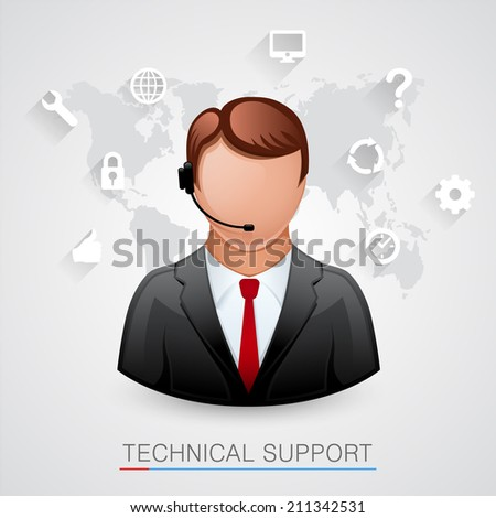 Technical support Background. Man with icons. Vector illustration - stock vector