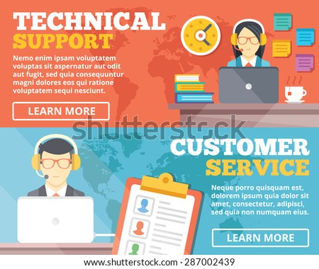Technical support, customer service flat illustration concepts set. Flat design concepts for web banners, web sites, printed materials, infographics. Creative vector illustration - stock vector