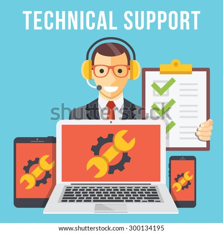 Technical support flat illustration concept. Modern flat design concepts for web banners, web sites, printed materials, infographics. Creative vector illustration - stock vector