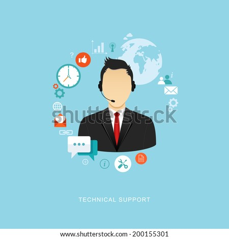 Technical support flat illustration. Man with icons. eps8 - stock vector