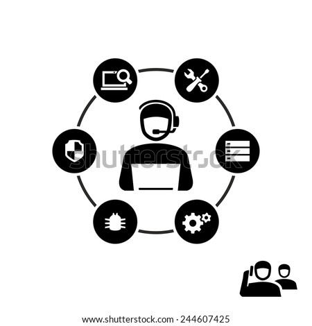 Technical support operator working on computer vector icon  - stock vector