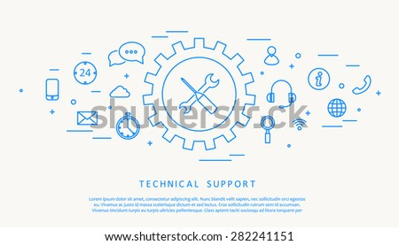 technical support thine line design - stock vector