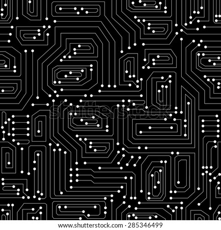 Technical vector seamless pattern with circuit board - stock vector