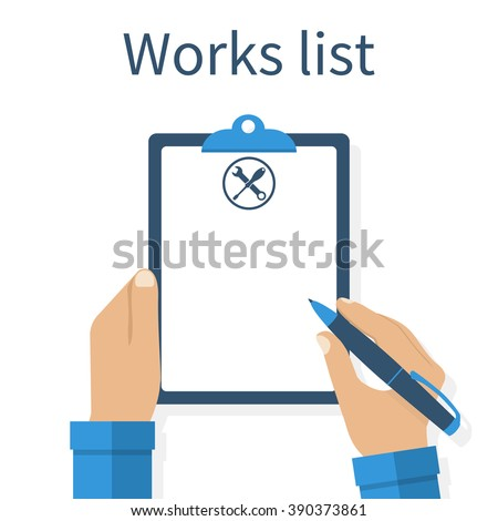 Technician with clipboard. Mechanic holding notebook in hand, write to clipboard. List of works. Clipboard, pen repair icon. Checklist. Empty blank, paper. To do list. Vector illustration, flat design