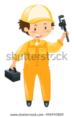 Technician with tool and box illustration
