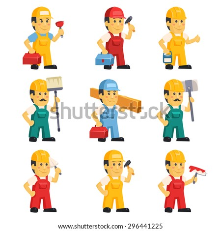 Technician , working a set of people with different construction objects vector illustration - stock vector