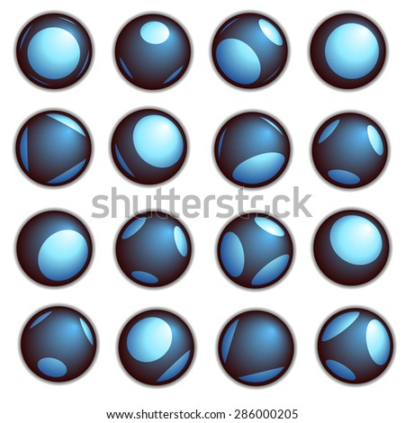 techno ball button in blue on a white background