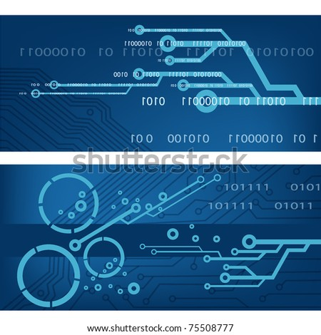 techno banner illustration. EPS10 - stock vector