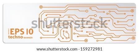 techno circuit web banners. EPS10 vector illustration  - stock vector