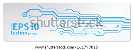 techno circuit web banners. EPS10 vector illustration - stock vector