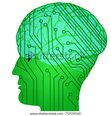 techno concept of head of the man - stock vector