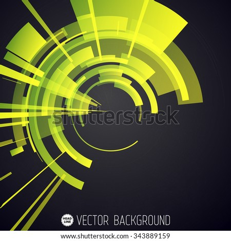 Techno Geometric Vector Circle Modern Science Abstract Background - stock vector