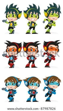 Techno Kid Mascot Set 1 - stock vector