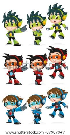 Techno Kid Mascot Set 2 - stock vector