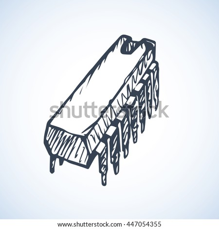 Techno pc pin microcontroller part isolated on white backdrop. Freehand outline ink hand drawn picture sketchy in art doodle style pen on paper. Closeup view with space for text - stock vector