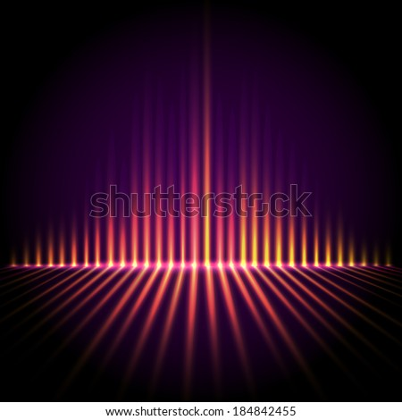 Techno perspective equalizer, abstract technology vector background - stock vector