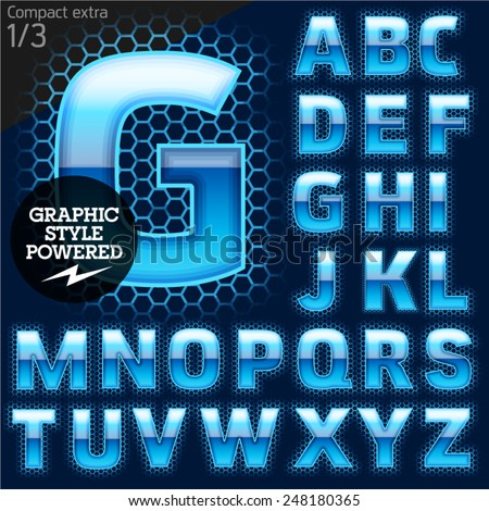 Techno style alphabet sensitive to the background. Compact extra. Set 1 - stock vector