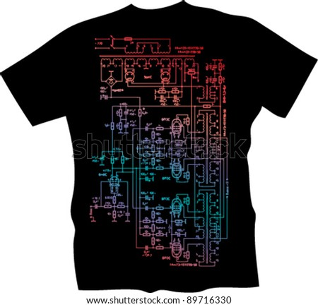 techno t-shirt - stock vector
