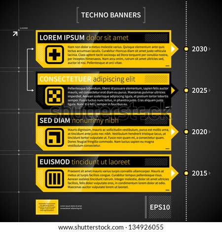 Techno timeline with 4 horizontal banners. - stock vector