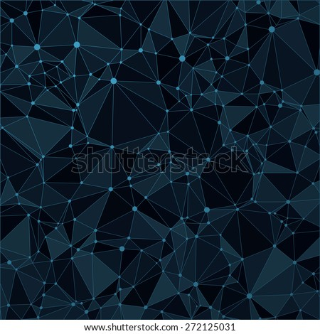 Technological black background with a pattern of triangles, highlights, lines and dots. For web design and business presentations. Vector. - stock vector