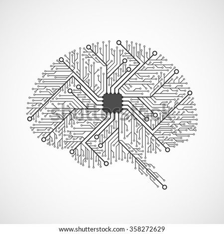 Technological brains. Circuit board. Vector background. - stock vector