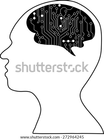 Technological brains. Vector eps10.silhouette of the head and  brain. process of human thinking. The concept of intelligence. People communication with the outside world. - stock vector