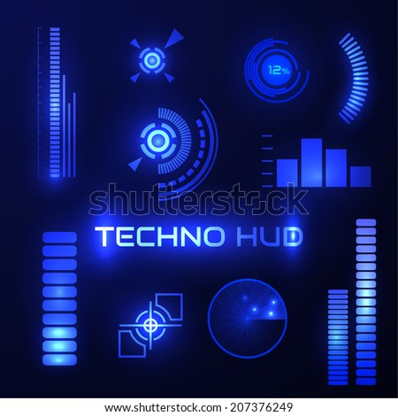 Technological HUD elements collection. Vector eps10. - stock vector