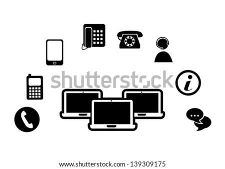 technological silhouette over white background vector illustration - stock vector