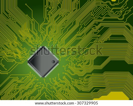 Technological vector background with a circuit board and processor