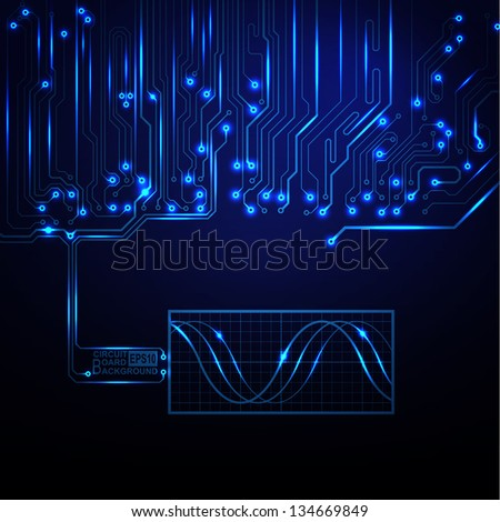 Technological vector background with a circuit board texture - stock vector