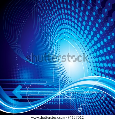 Technology abstract composition blue background. - stock vector