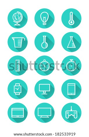 Technology and science icons. flat icon set. vector - stock vector
