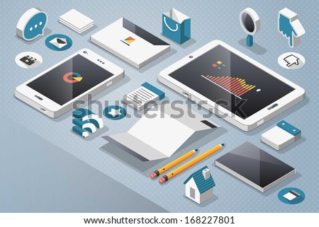 technology and social media, vector mock up - stock vector