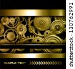 Technology background gold metallic gears and golden cogwheels, vector. - stock photo