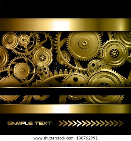 Technology background gold metallic gears and golden cogwheels, vector. - stock vector