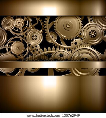 Technology background metallic gears and cogwheels, vector. - stock vector