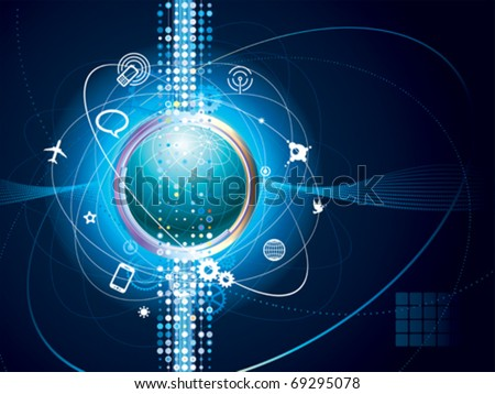Technology background of Global communication connection. - stock vector