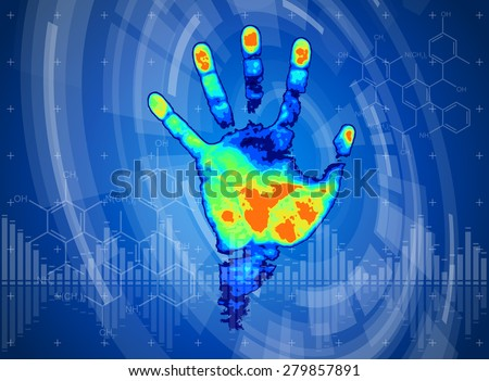 technology background. thermal hand print, blue technology background, chemical formulas and digital wave - stock vector