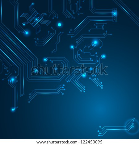 Technology background with circuit board elements. Vector illustration. - stock vector