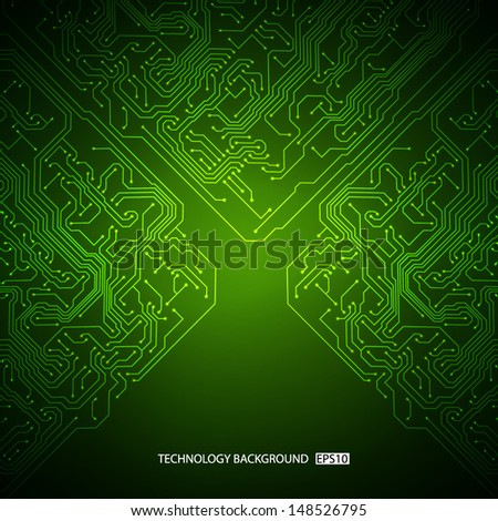 Technology background with circuit board texture. EPS10 vector - stock vector