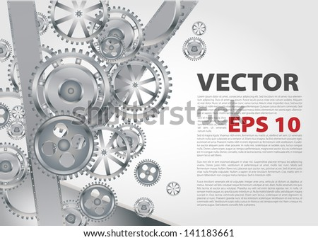 Technology background with metal gears and cogwheels - stock vector