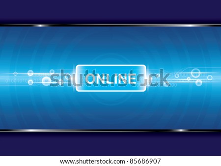 technology background with online button