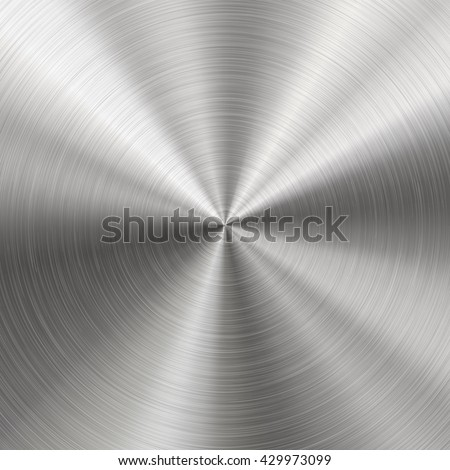 Technology background with polished, brushed metal, radial texture of alloy, titan, steel, chrome, nickel. EPS 10 contains transparency  - stock vector