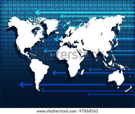 Technology background with world map. Vector illustration. Eps10