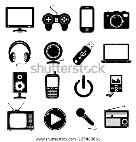 technology black icons - stock vector