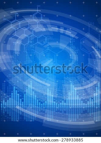 Technology blue background - radial HUD interface elements, digital waves, chemistry forms. Vector illustration / Eps10 - stock vector