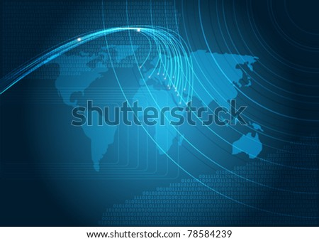 Technology - Blue Background With Map of the World