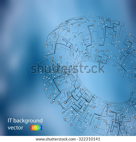 Technology blueprint vector with colorful background - stock vector