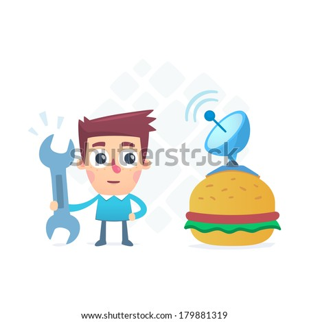 Technology burger - stock vector
