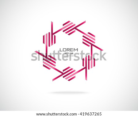 Technology Business Abstract Logo Design Template. Emblem from Red Lines. Hexagonal Colored Striped Logotype. Creative Concept Icon.  - stock vector